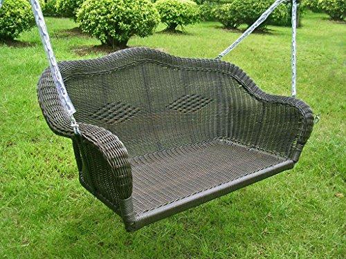 International Caravan Furniture Piece Resin Wicker Hanging Loveseat Swing