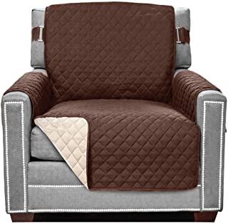Best Sofa Shield Original Patent Pending Reversible Chair Protector, Many Colors, Width up to 23 Inch, Furniture Slipcover, 2 Inch Strap, Chairs Slip Cover Throw for Pets, Dogs, Armchair, Chocolate Beige Reviews