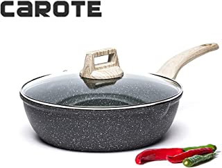 Carote 9.5-Inch Nonstick Deep Frying Pan Saute Pan with Glass Lid,Non-Stick Granite Stone Coating from Switzerland