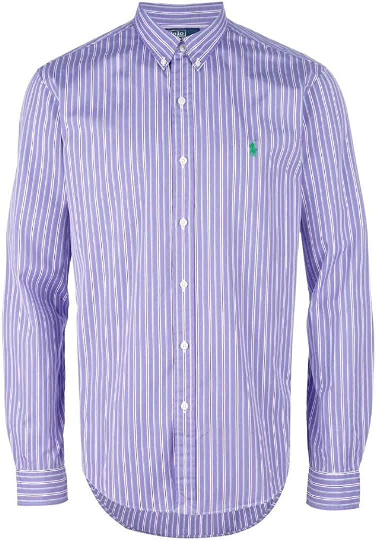 Polo Ralph Lauren Men's Custom Fit Purple Striped Dress Shirt, 16.5 32/33