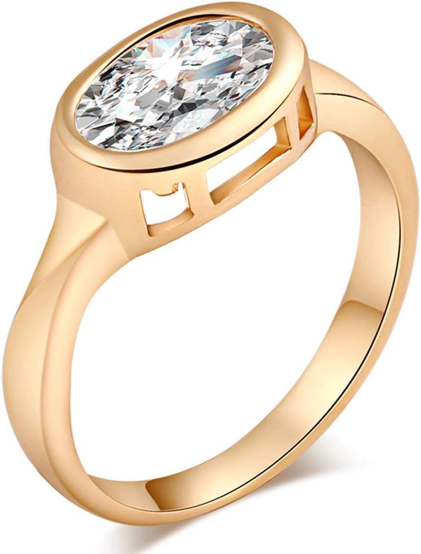 Jewelry Beautifully Big Popularity Oval Shaped Clear Zircon Women Sales Tren Ring
