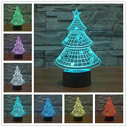 Sapin 3D Lampe LED optique Illusion, HAIYU 7 farbwech Veilleuse avec Acrylique Flat & ABS Base & Chargeur USB Modifier toucher vous Botton Lampe de bureau Lampe de table