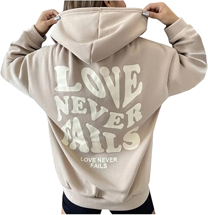 Hoodies for Women Pullover, Womens Long Sleeve Hooded Sweatshirts Letter Printed Pullover Tops Comfy Shirts Blouses