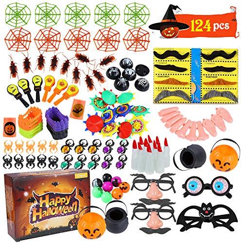 ThinkMax 124 Pack Halloween Party Spielzeug für Kinder, Neuheit Spielzeug für Halloween Goodie Bag Füllstoffe, Leckereien und Preise