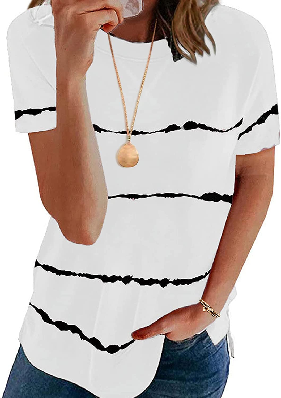 Century Star Women's Casual Short Sleeve Crewneck Shirts Polos Striped Print Loose Tee T-Shirt Tops