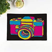rouihot Set of 6 Placemats Hipster Vintage Camera Photography Popart Shoot Aged Andy Warhol Non-Slip Doily Place Mat for Dining Kitchen Table