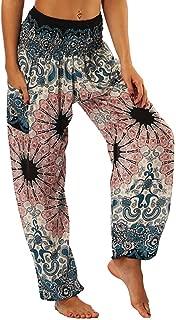 iYBUIA Men Women Casual Printed Loose Hippy Yoga Trousers Baggy Boho Aladdin Harem Pants