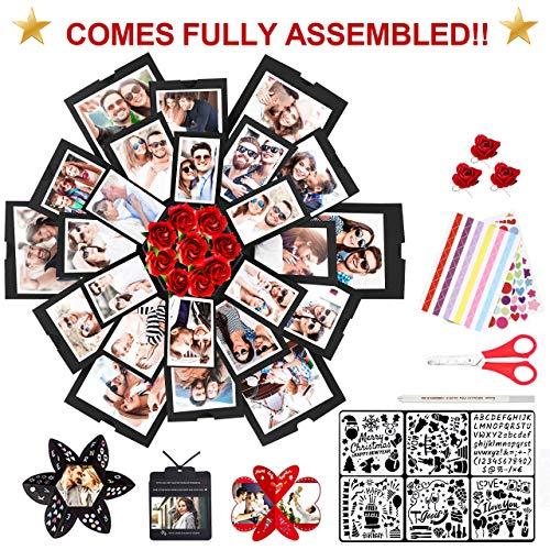 WisFox Überraschung Box, Kreative DIY handgemachte Überraschung Explosion Geschenkbox Liebe Erinnerung, Scrapbooking Fotoalbum Geschenkbox für Geburtstag Valentinstag Jubiläum Hochzeit Weihnachtsfest