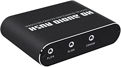 5.1 Channel HD Audio Rush,Digital Sound Decoder Converter,Optical SPDIF Coaxial Dolby AC3 DTS Stereo(R/L) to 5.1CH Analog Audio Black