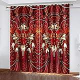 NuAnYI Cortinas Opacas Rojo Modelo Clase De Arte Abstracto 2 Pieza Térmicas Aislantes Cortinas Cortinas Ojales Super Suave Reductoras De Ruido para Salón Oficina Dormitorio Cortinas 298x180CM
