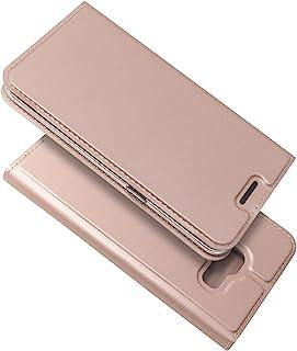 PauTion Galaxy Feel SC-04J ケース 財布型 手帳型 高級PUレザー カード収納 マグネット式 横置きスタンド機能付き 耐衝撃 全面保護 (Galaxy Feel SC-04J, ローズゴールド)