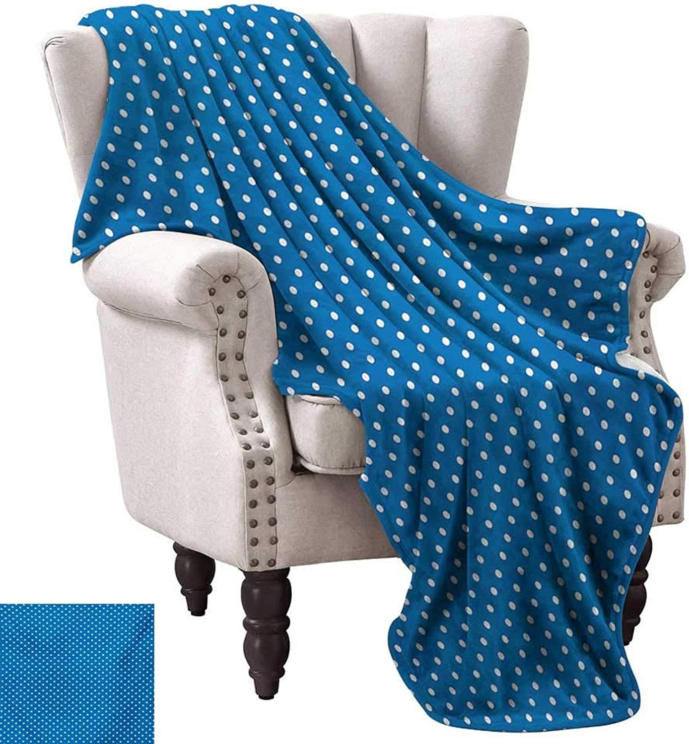 Anyangeight Digital Printing Blanket,Classical Polka Dots Pattern Modern Style Navy Boys Theme Retro Artistic Print 60 x50 ,Super Soft and Comfortable,Suitable for Sofas,Chairs,beds