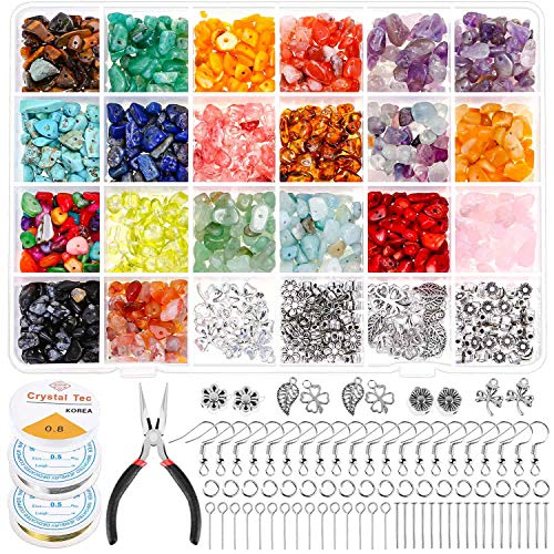 1584Pcs Crystal Jewelry Making Kit, Thrilez Ring Making Kit with Crystal Gemstone Beads, Jewelry Wire and Earring Hooks for Ring, Earring and Jewelry Making