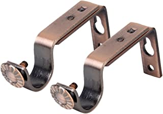 OULII Adjustable Curtain Drapery Rod Bracket, 18-22mm, 2-Pack, Red Copper