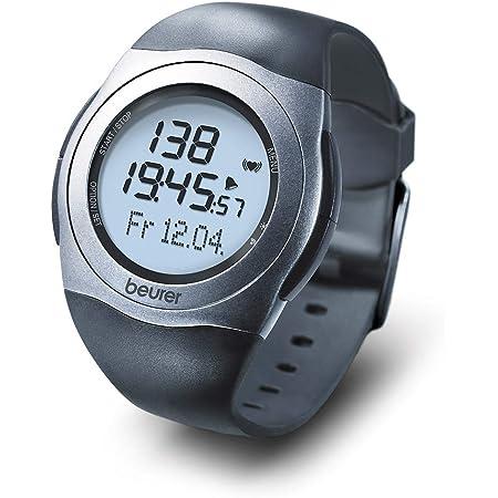 Beurer PM25 - Pulsómetro con Correa Pectoral, Sumergible 30 m, medidor ritmo cardíaco, ajuste de niveles de entrenamiento, transmisión analógica, consumo calorías, Color Negro