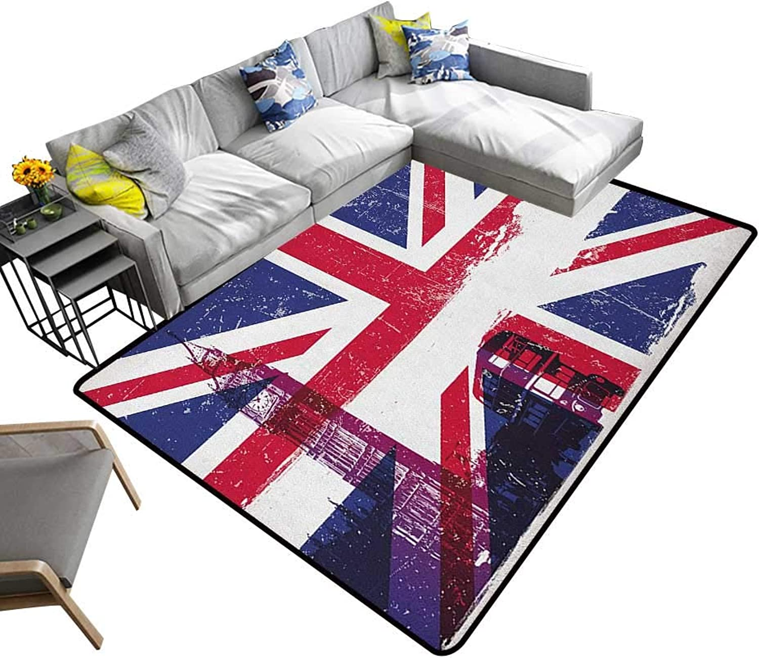 Union Jack Indoor Floor mat Grungy Aged UK Flag Big Ben Double Decker Country Culture Historical Landmark 70 x82 ,Can be Used for Floor Decoration