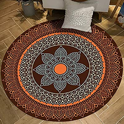 Chair Mat Area Carpet Office Chair Mat Coral Velvet Floral Round Soft Touch Shaggy Thick Non-Slip Multiple Sizes