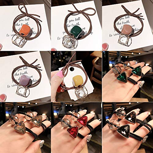 YMoon Korea's New Crystal Hair Tie, Internet Celebrity Headband, Hair Ropes in 2 Styles and 9 Colors, Hair Accessories for Womenes