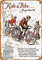 ノベルティサインギフト、自転車に乗ってあなたの最高の仲間、錫の壁サインレトロな鉄の塗装金属ポスター警告プラークアートインテリアガレージホームガーデンストアバー