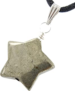 Steampunkers USA Celestial Collection - 20mm Classic Star Pyrite Golden - 20-22 Inch Adjustable Black Cord – Crystal Gemstone Collectibles Carved Necklace Handmade Charm