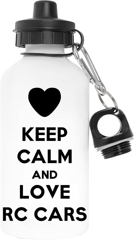 Keep Calm And Love Rc Cars Libre de Contaminantes Blanco Botella De Agua Aluminio Para Exteriores Pollutant Free White Water Bottle Aluminium For Outdoors