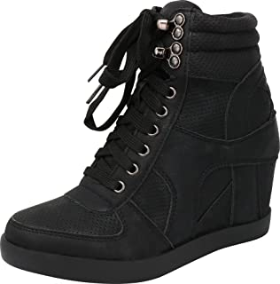 Women's Lace-Up High Top Closed Toe Perforated Hidden Wedge Fashion Sneaker