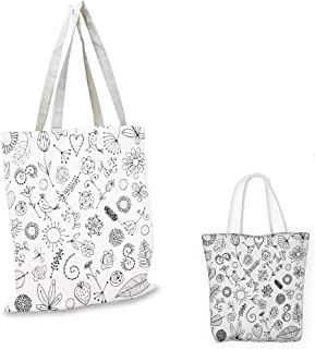 fashion shopping tote bag Doodle Things from Nature in Sketch Form Birds Flowers Strawberry Sunflower Ferns Print Black White shopping bag for women