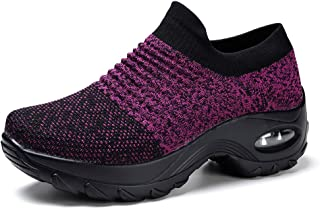 info for 16ba2 f9df9 Womens Walking Shoes Breathable Fashion Mesh Sneakers Slip On Trainers  Running Shoes Comfortable Platform Loafers Wedge