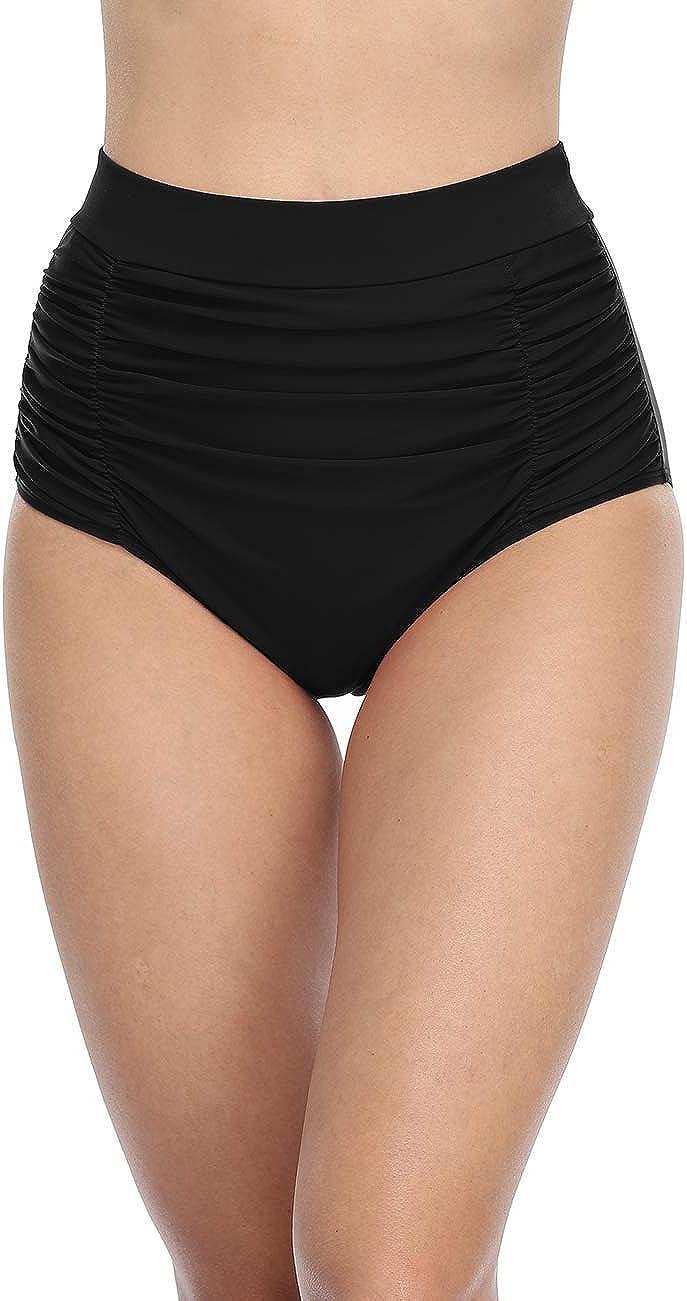 Firpearl Women's Retro High Waisted Bikini Bottoms Shirred Tankini Briefs Tummy Control Swim Shorts