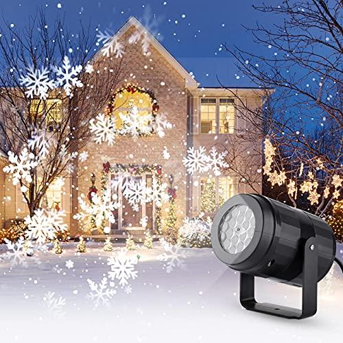 Proiettore Natale Interno, Proiettore Fiocchi di Neve, Luci LED Natale Lampada con Dinamico Neve, Decorazioni Natalizie per Interno Feste Christmas Halloween Compleanno Capodanno