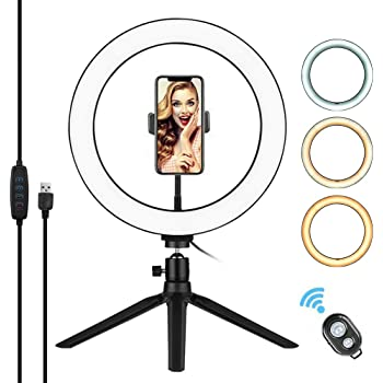 10 inch Ring Light on The Table 12W dimmable 2700-6500K Photo Light with Remote Control self-Timer Light Ring Light 3 Light Modes LED Video Light