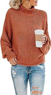 Womens Turtleneck Oversized Sweaters Batwing Long Sleeve...