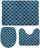 Soft Toys Coral Terciopelo Alfombras de baño Set de 3 piezas Lindo lindo negro Retro Chic Trellis Patrón de trellis antideslizante U Forma en forma de contorno O Funda de tapa con forma de inodoro 15