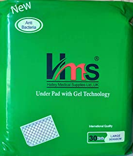HMS - Halley Medical Supplies Under Pads with Gel Technology for Adult - Bed pads - 30 pads - Large 90x60 cm.