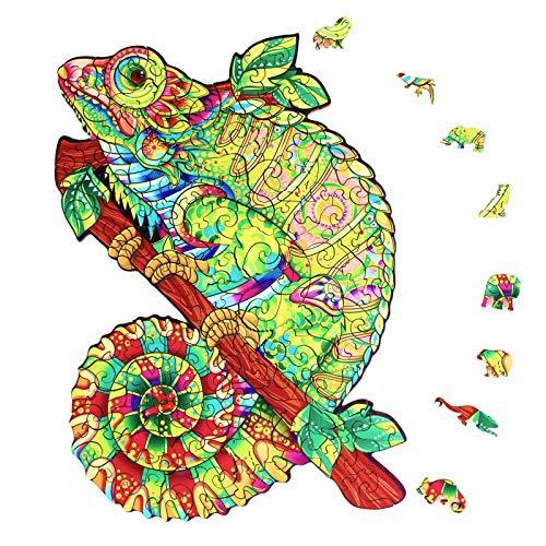 JORUNS Erwachsene Holzpuzzle. Jigsaw Puzzles für Erwachsene, Cool Unique Tier geformt Puzzle Chamäleon. Tolles Geschenk für Erwachsene, Kinder, Familie. Größe (19,2 x 27,4 cm) 138 Stück