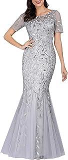 Ever-Pretty Sirena a Fiori Vestido de Noche Lentejuela Tul Vestido de Fiesta Manga Corta Largo EZ07707