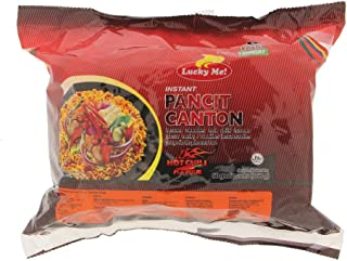 Lucky Me! Instant Pancit Canton Hot Chili Flavor (Instant Chow Mien Hot Chili Flavor) - 2.12oz/60g (Pack of 12)