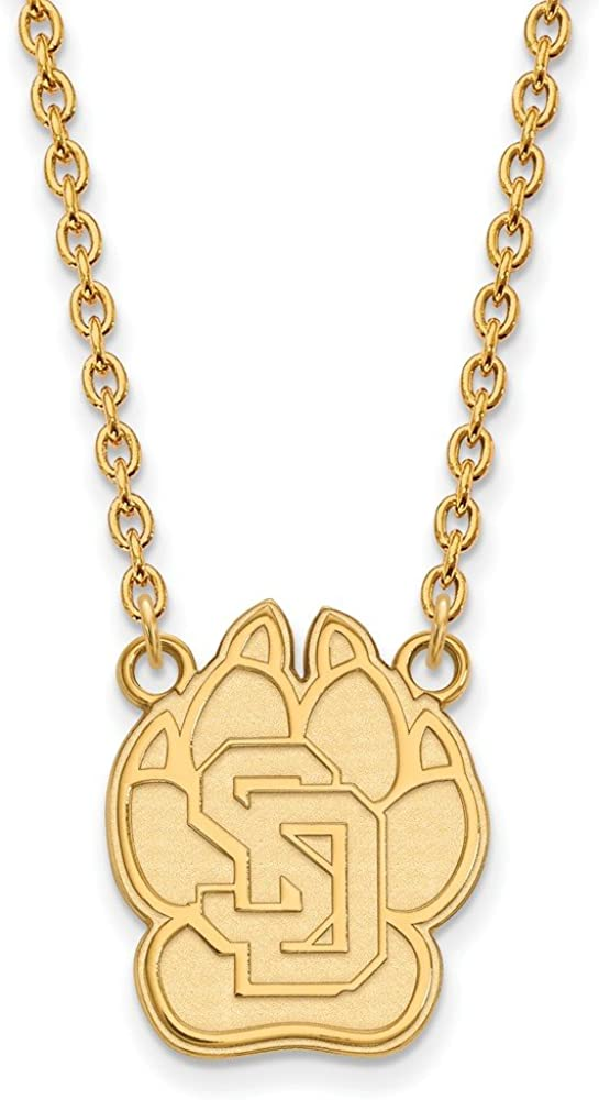 with Secure Lobster Lock Clasp 925 Sterling Silver Yellow Gold-Plated Official U of South Dakota Large Pendant Necklace Charm Chain Width = 16mm