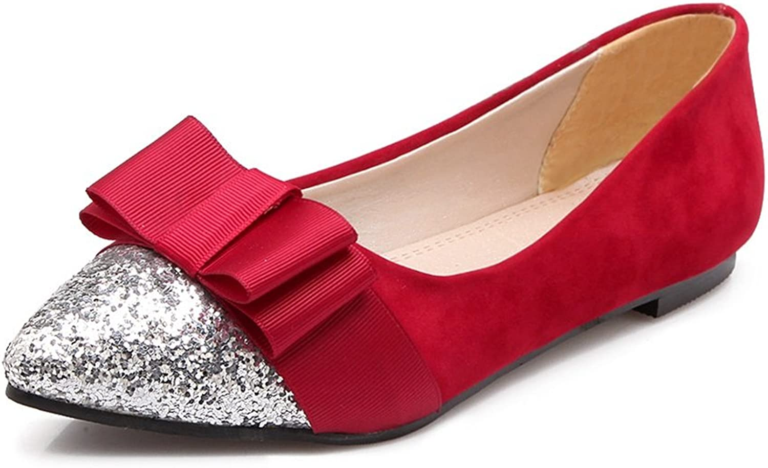Exing Women's shoes Large Size Ladies shoes with Low-Heeled Sequined Bow Single shoes