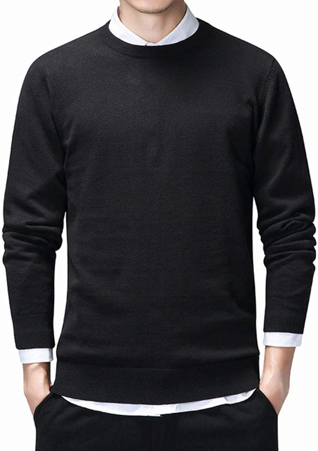 Sweater Men Casual O-Neck Knitwear Pull 100% Cotton Pullover Winter