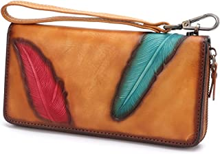 Women's Wallet Genuine Leather Zip Around Wristlet Long Purse Vintage Embossing Cowhide Capacity Handmade Clutch