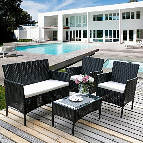 Leisure Zone  ® rattan garden furniture sets patio furniture set garden furniture rattan garden furniture set table chairs sofa patio conservatory wicker (Black)