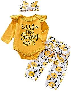 TOPBIGGER 2020 3PCS Newborn Baby Girl Romper Jumpsuit Bodysuit +Pants+Headband/Hat Outfit Set Bodysuit Tops Halloween Pumpkin Jumpsuit Outfits Set 0-24Months