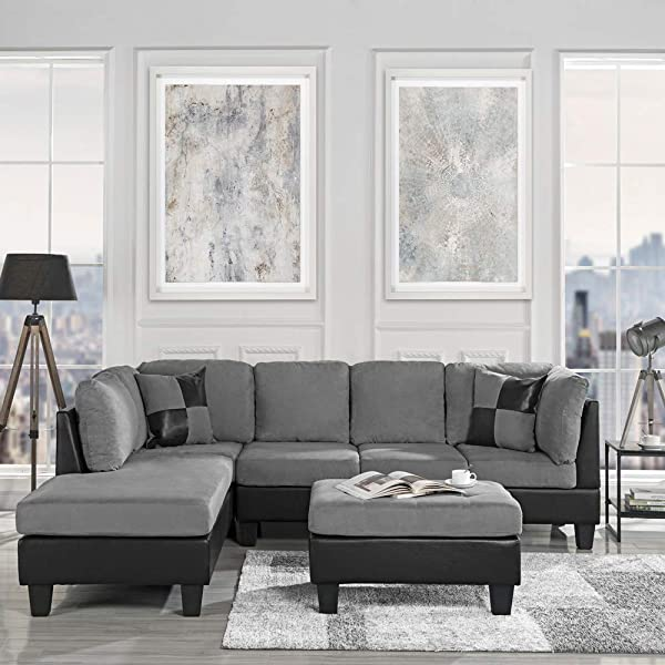 Casa Andrea Modern 3 Piece Microfiber And Faux Leather Sofa And Ottoman Set 102 W Grey