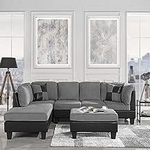 Casa Andrea Milano 3 Piece Modern Microfiber Faux Leather Sectional Sofa w/Ottoman