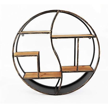 Berkalash - Estantería redonda de 59 cm para montar en la pared, moderno estante multiexpositor de pared, metal y madera, estilo retro industrial para ...