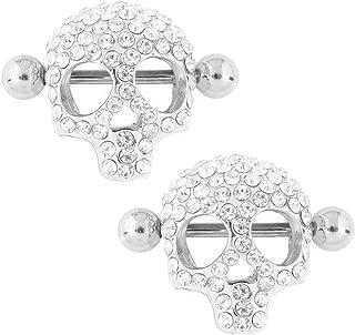 WOWOHE Nipple Rings - 3D Skull Nipplerings Piercing Women Nipple Bars Shields Body Piercing Nipple Ring Stainless Steel Sold As a Pair