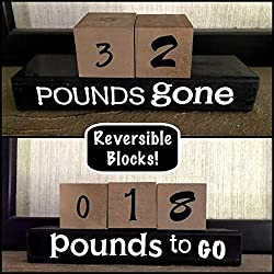 Image: Reversible and interactive | motivational and inspirational | countdown wood word stacking block set for weight loss | motivational and fun way to keep track of your weight loss