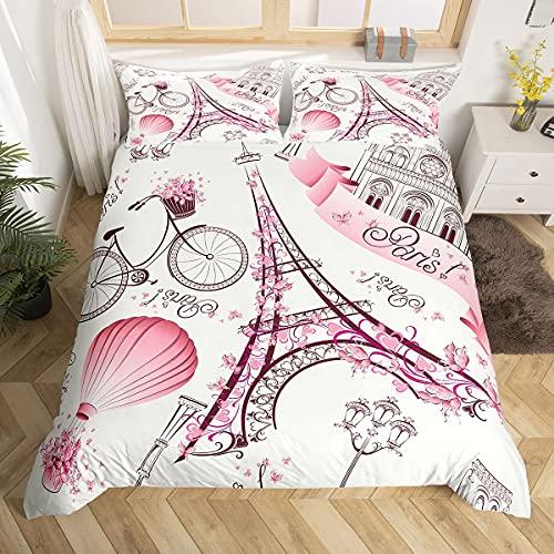 Eiffel Tower Couple Duvet Cover Set King Size Romantic Theme Decor...