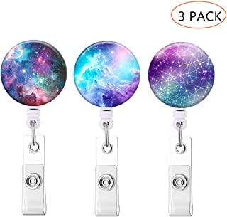 Badge Holder ID Badge Reels with Clip Retractable Badge Holder for Office Student Doctor Nurse (Starry Sky 3 Pack)